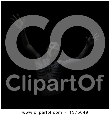 Clipart of a Clay Man Screaming and Being Devoured by Darkness, on Black - Royalty Free Illustration by Leo Blanchette
