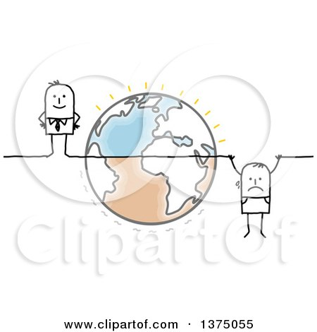 Clipart of a Stick Business Man Hanging from a Line Crossing Earth, with a Successful Man on the Other Side - Royalty Free Vector Illustration by NL shop