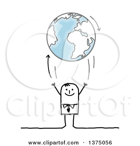 Clipart of a Stick Business Man Tossing up Planet Earth - Royalty Free Vector Illustration by NL shop