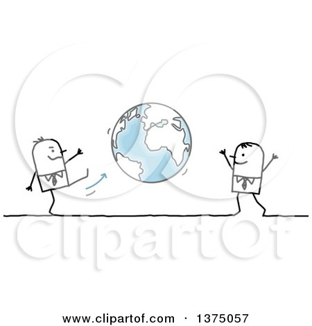 Clipart of Stick Business Men Playing Kick Ball with Planet Earth - Royalty Free Vector Illustration by NL shop
