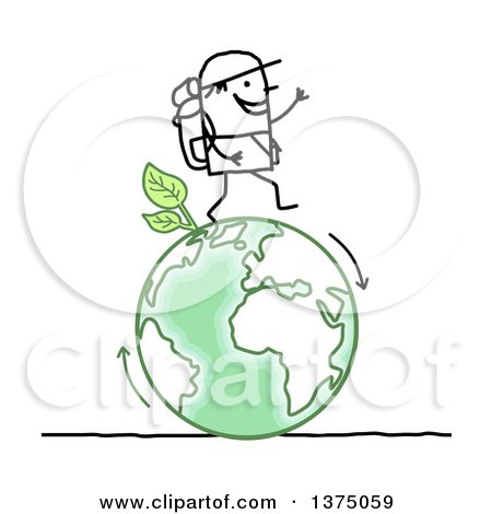 Clipart of a Stick Man Hiking on a Green Planet Earth - Royalty Free Vector Illustration by NL shop