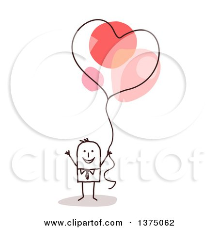 Clipart of a Stick Business Man Holding a Heart Balloon - Royalty Free Vector Illustration by NL shop