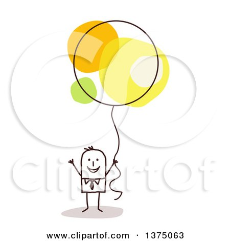Clipart of a Stick Business Man Holding a Balloon - Royalty Free Vector Illustration by NL shop