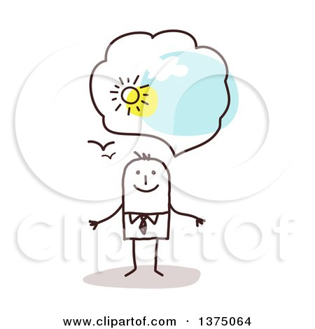 Clipart of a Stick Business Man with Positive Optimistic Thoughts - Royalty Free Vector Illustration by NL shop