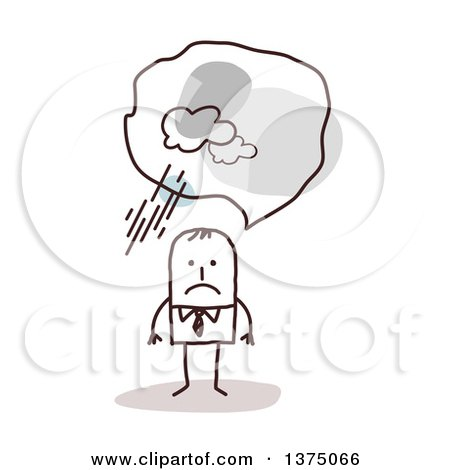 Clipart of a Stick Business Man with Negative Pessimistic Thoughts - Royalty Free Vector Illustration by NL shop