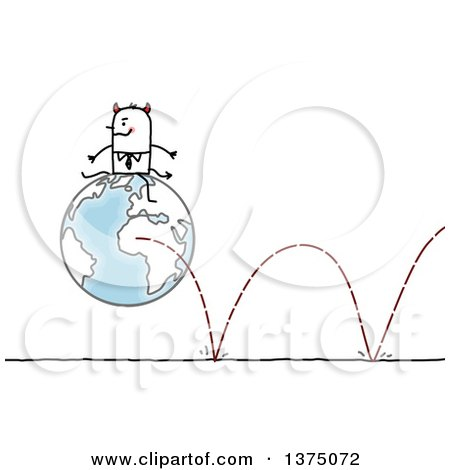 Clipart of a Devil Stick Business Man Sitting on a Bouncing Globe - Royalty Free Vector Illustration by NL shop