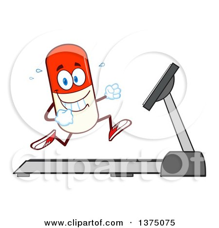 Clipart of a Happy Pill Mascot Running on a Treadmill - Royalty Free Vector Illustration by Hit Toon