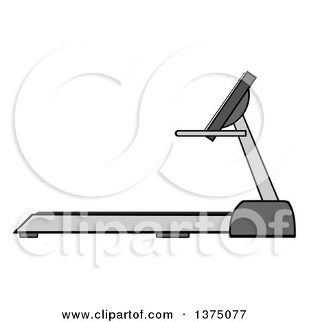 Clipart of a Gray Treadmill - Royalty Free Vector Illustration by Hit Toon