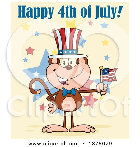 Clipart of a Happy Patriotic Monkey Wearing a Top Hat and Holding an American Flag Under Happy 4th of July Text on Yellow - Royalty Free Vector Illustration by Hit Toon