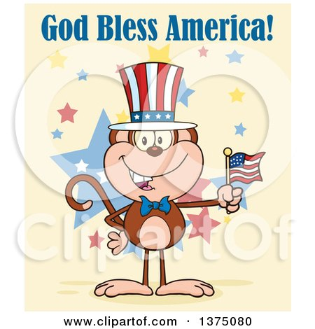 Clipart of a Happy Patriotic Monkey Wearing a Top Hat and Holding an American Flag Under God Bless America Text on Yellow - Royalty Free Vector Illustration by Hit Toon