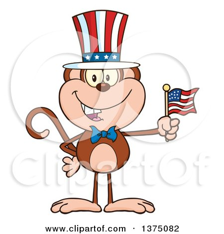 Clipart of a Happy Patriotic Monkey Wearing a Top Hat and Holding an American Flag - Royalty Free Vector Illustration by Hit Toon