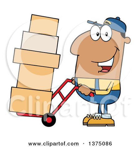 Clipart of a Black Delivery Man Moving Boxes on a Dolly - Royalty Free Vector Illustration by Hit Toon
