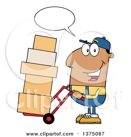 Clipart of a Black Delivery Man Talking and Moving Boxes on a Dolly - Royalty Free Vector Illustration by Hit Toon