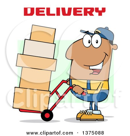 Clipart of a Black Delivery Man Moving Boxes on a Dolly Under Text - Royalty Free Vector Illustration by Hit Toon