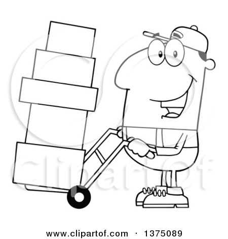 Clipart of a Black and White Delivery Man Moving Boxes on a Dolly - Royalty Free Vector Illustration by Hit Toon