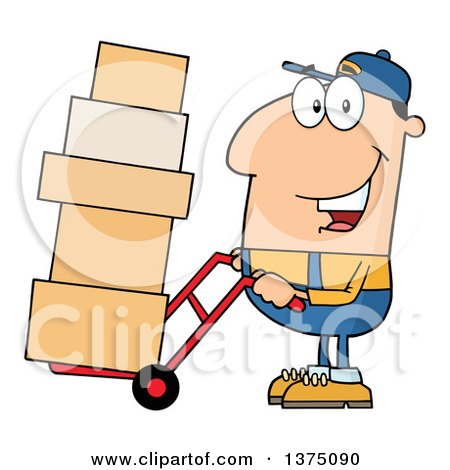 Clipart of a Caucasian Delivery Man Moving Boxes on a Dolly - Royalty Free Vector Illustration by Hit Toon