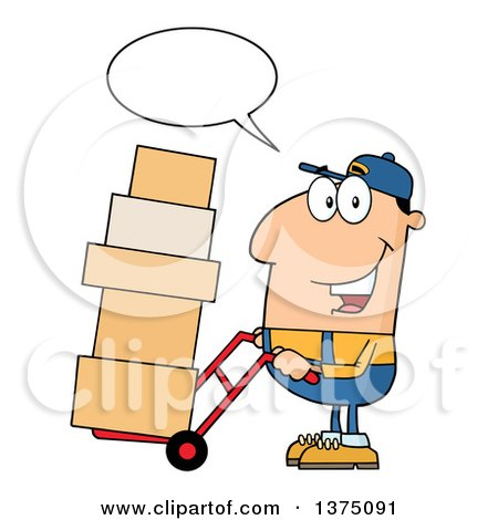 Clipart of a Caucasian Delivery Man Talking and Moving Boxes on a Dolly - Royalty Free Vector Illustration by Hit Toon