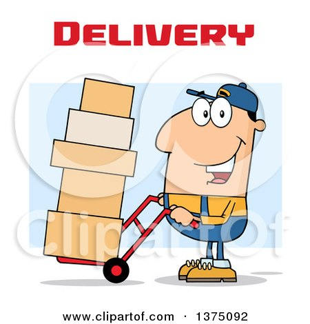 Clipart of a Caucasian Delivery Man Moving Boxes on a Dolly Under Text - Royalty Free Vector Illustration by Hit Toon