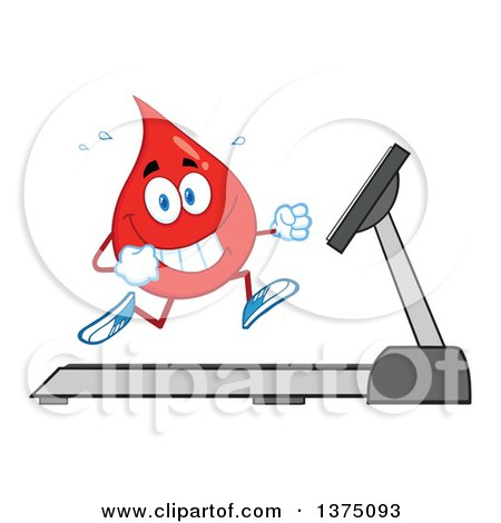 Clipart of a Happy Blood or Hot Water Drop Running on a Treadmill - Royalty Free Vector Illustration by Hit Toon