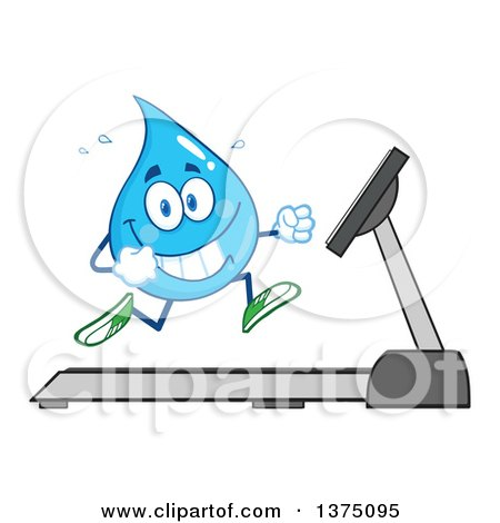 Clipart of a Happy Blue Water Drop Character Running on a Treadmill - Royalty Free Vector Illustration by Hit Toon