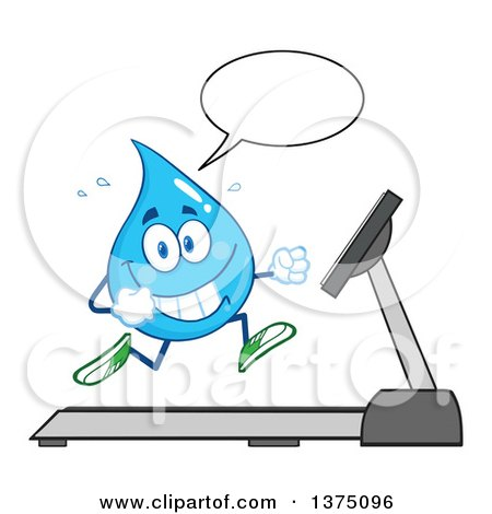 Clipart of a Happy Blue Water Drop Character Talking and Running on a Treadmill - Royalty Free Vector Illustration by Hit Toon