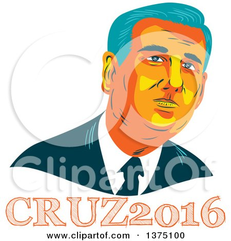 Clipart of a Retro Wpa Styled Portrait of Ted Cruz, Replubican Presidential Candidate, over Text - Royalty Free Vector Illustration by patrimonio
