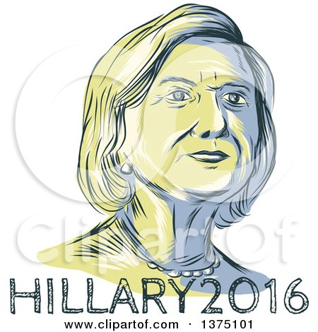 Clipart of a Retro Sketched Portrait of Hillary Clinton over Text - Royalty Free Vector Illustration by patrimonio