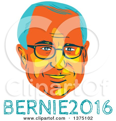 Clipart of a Retro Wpa Styled Portrait of Bernie Sanders, Democratic Presidential Candidate, with Text - Royalty Free Vector Illustration by patrimonio