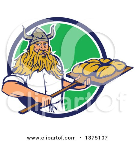 Clipart of a Retro Male Viking Warrior Baker Holding a Peel with Bread Dough, Emerging from a Blue White and Gree Circle - Royalty Free Vector Illustration by patrimonio
