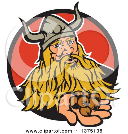 Clipart of a Retro Viking Warrior Holding out Hazelnuts and Emerging from a Black and Red Circle - Royalty Free Vector Illustration by patrimonio