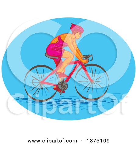 Clipart of a Sketched Caucasian Female Cyclist in a Blue Oval - Royalty Free Vector Illustration by patrimonio