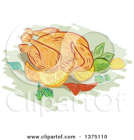 Clipart of a Sketched Roasted Chicken with Lemon, Lime, Mint, Onion - Royalty Free Vector Illustration by patrimonio