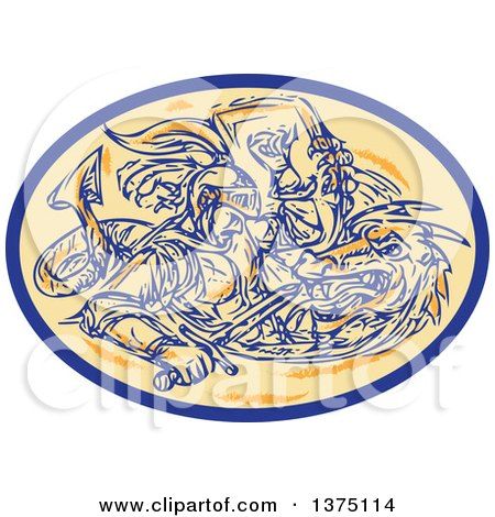 Clipart of a Sketched Scene of St George Fighting a Dragon in an Oval - Royalty Free Vector Illustration by patrimonio