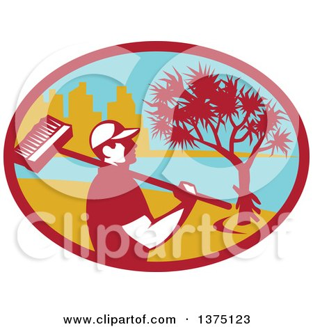 Clipart of a Retro Male Cleaner Holding a Broom over His Shoulder, Inside an Oval with a Pandanus Tree and Coast - Royalty Free Vector Illustration by patrimonio