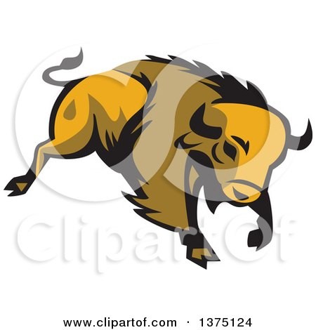 Clipart of a Retro Charging American Bison Buffalo - Royalty Free Vector Illustration by patrimonio