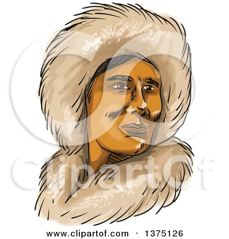 Clipart of a Watercolor Portrait of a Eskimo Inuit Man in a Hooded Fur Parka - Royalty Free Vector Illustration by patrimonio
