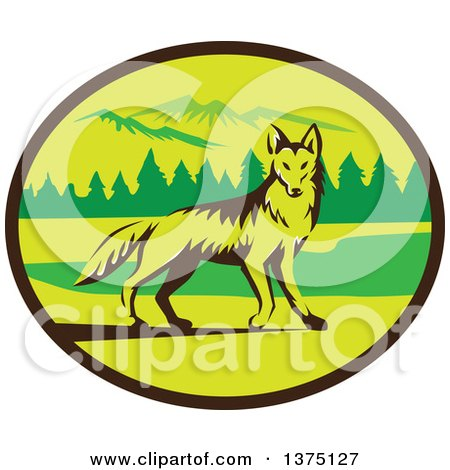 Clipart of a Retro Alert Coyote in a Mountains and Woods Oval - Royalty Free Vector Illustration by patrimonio