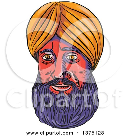 Clipart of a Watercolor Portrait of a Male Sikh Wearing a Turban - Royalty Free Vector Illustration by patrimonio