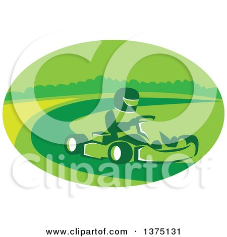 Clipart of a Reto Man Racing a Go Kart in a Green Oval - Royalty Free Vector Illustration by patrimonio