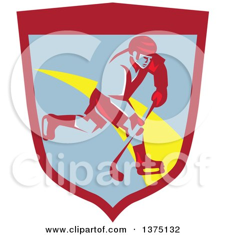 Clipart of a Retro Ice Hockey Player in Action Inside a Shield - Royalty Free Vector Illustration by patrimonio