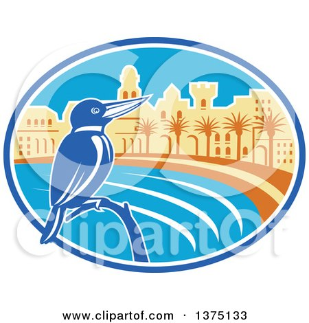 Clipart of a Retro Kingfisher Bird Perched Against a Mediterranean Coastal City in an Oval - Royalty Free Vector Illustration by patrimonio