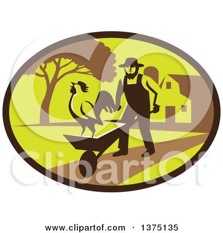 Clipart of a Retro Amish Farmer Man Pushing a Wheelbarrow with a Crowing Rooster on a Farm Within an Oval - Royalty Free Vector Illustration by patrimonio