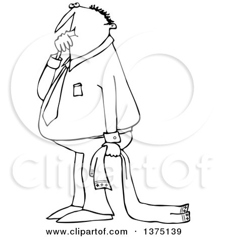 Cartoon Clipart of a Black and White Businessman Sucking His Thumb and Holding a Blanket - Royalty Free Vector Illustration by djart