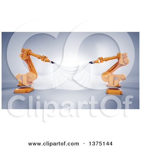 Clipart of 3d Orange Robotic Arms Holding a Blank Banner, on a Shaded Background - Royalty Free Illustration by Mopic