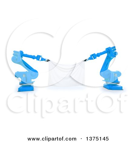 Clipart of 3d Blue Robotic Arms Holding a Blank Banner, on a White Background - Royalty Free Illustration by Mopic