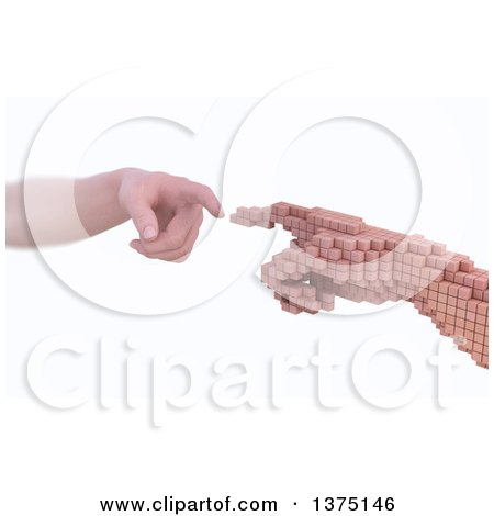 Clipart of a 3d Caucasian Human Hand Reaching to Touch a Voxel Hand, Reality Vs Simulation, on a White Background - Royalty Free Illustration by Mopic