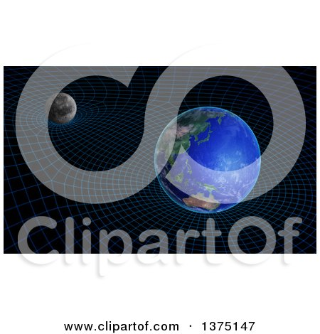 Clipart of a 3d Moon and Earth Space Time Continuum Curvature and Gravity Concept - Royalty Free Illustration by Mopic