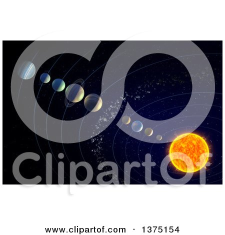 Clipart of a 3d Solar System with the Theorised Ninth Planet X - Royalty Free Illustration by Mopic