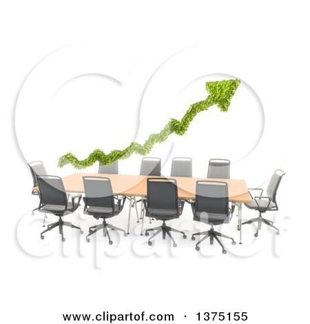 Clipart of a 3d Green Leafy Arrow over a Converence Table, on a White Background - Royalty Free Illustration by Mopic