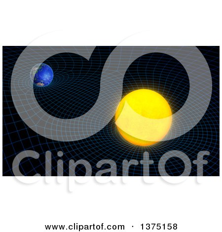 Clipart of a 3d Sun and Earth Space Time Continuum Curvature and Gravity Concept - Royalty Free Illustration by Mopic